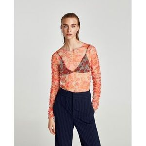 NWT Zara Coral Floral Tulle Long Sleeve Tule Shirt
